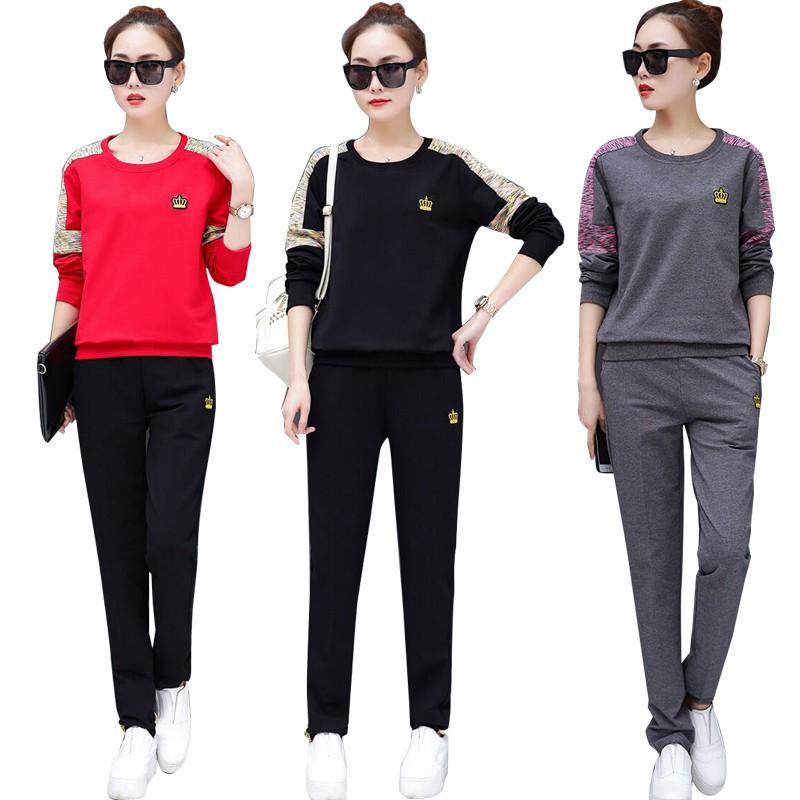 brand new 4f974 3efa8 Tops + Pants Women Sportswear Sets Long Sleeve Shirts   Shopee Malaysia