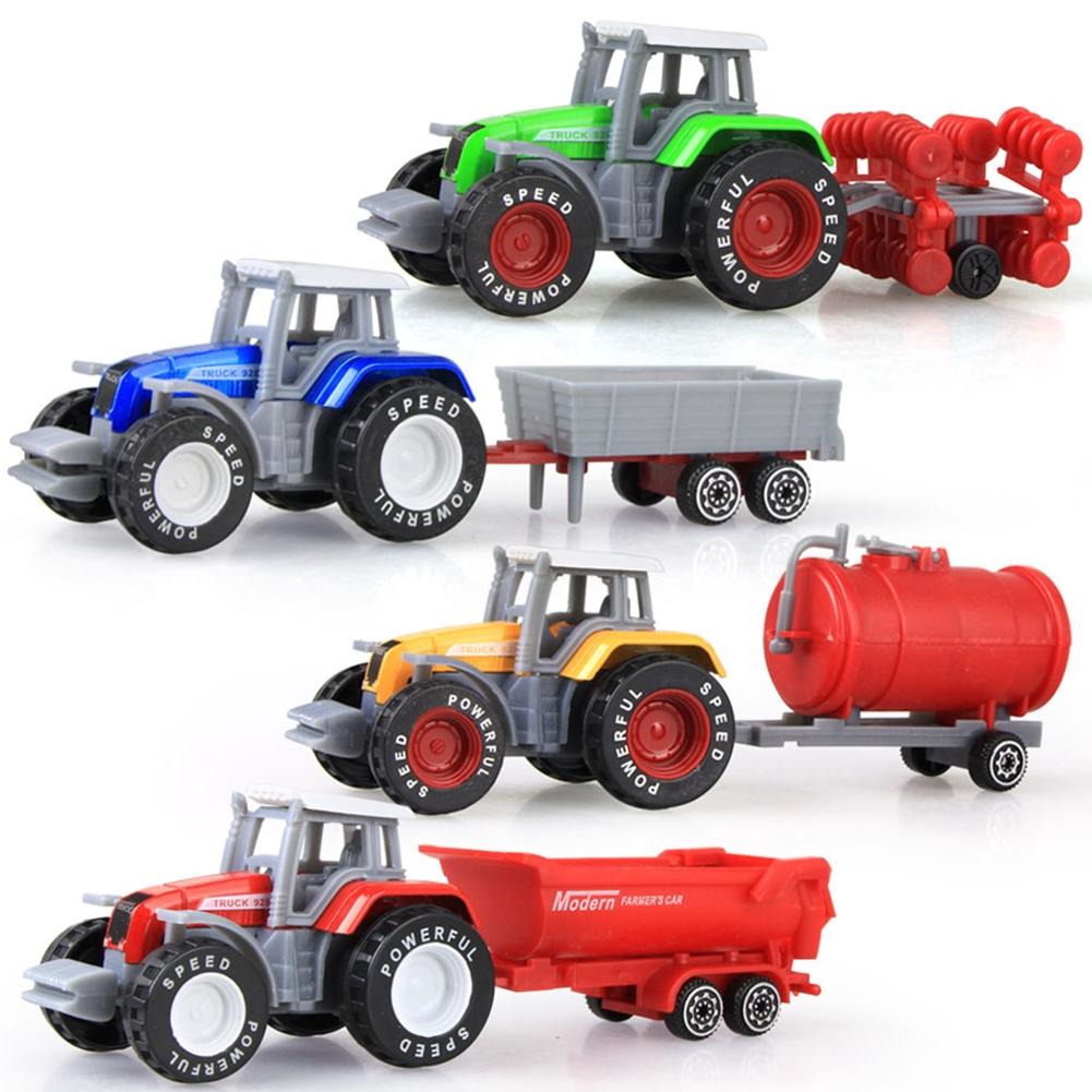 Children Toy Cars 4pcs/set Alloy Engineering Car Tractor Model Farm Vehicle  Belt Boy Gift for Kids 1