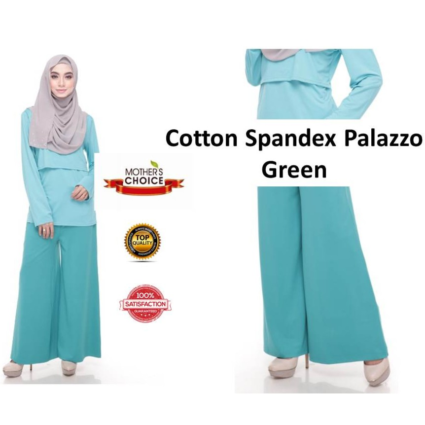 Seluar Ibu Mengandung by QISSARA Palazzo Maternity Friendly with Adjustable Waistband (Green)