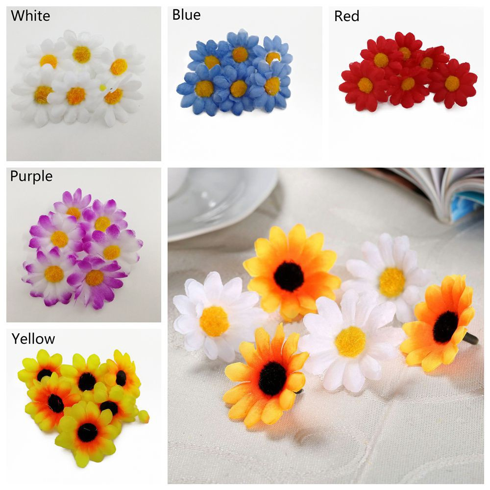 100pcs Artificial Gerbera Daisy Flower Heads for Wedding Party Decor Craft