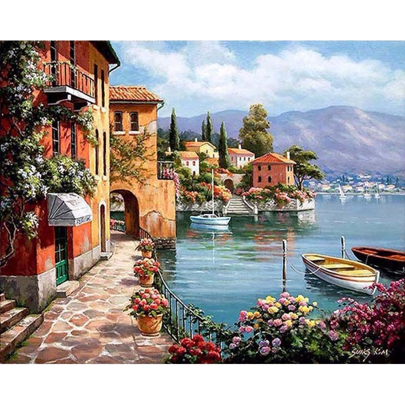 Painting By Numbers Scenery DIY Oil Coloring By Numbers Street Landscape Canvas