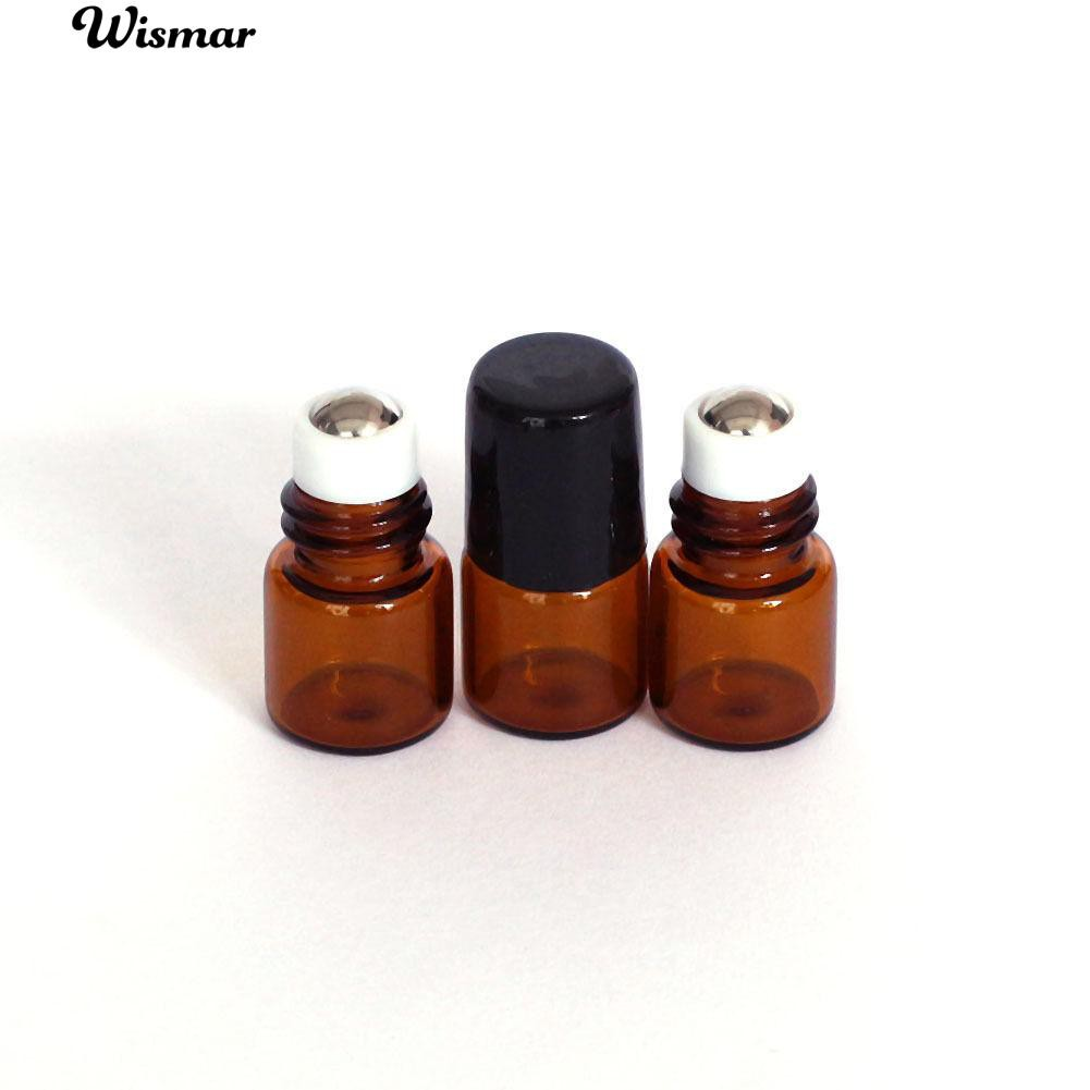 365128559fce 💄10 Pcs 1ml Empty Brown Glass Bottle Roller Ball Essential Oil Liquid  Container