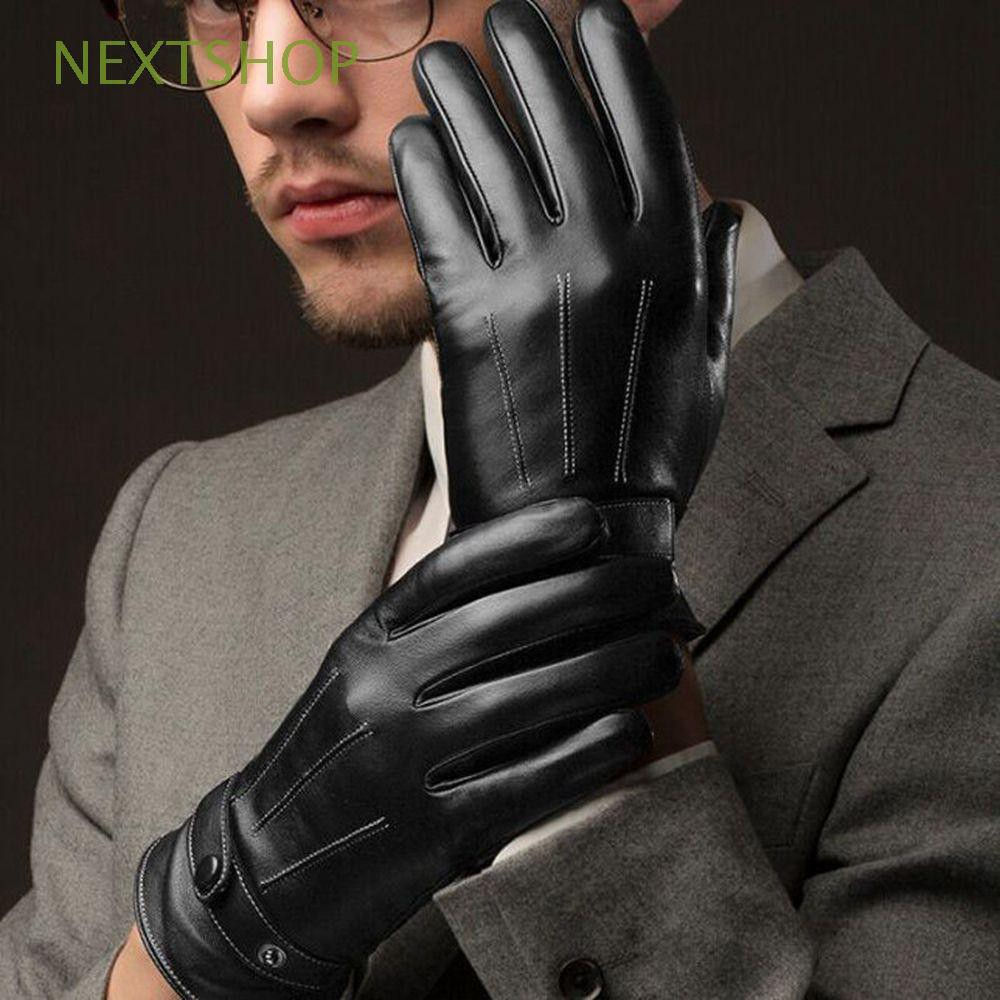 1 Pair Luxury Men Clothing Warm Accessories Black Leather Gloves