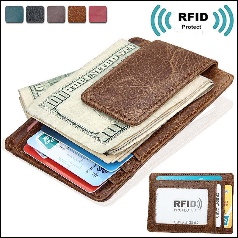 Money Clip Leather RFID Blocking Strong Magnet thin Wallet Front Pocket Wallet
