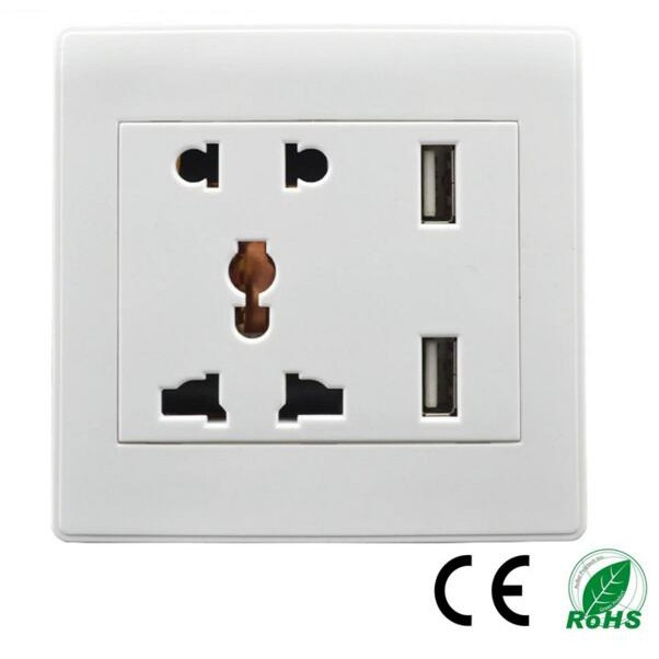 5 PCS Universal Mulit Outlet Power Socket Panel Receptacle Max AC250V 13A