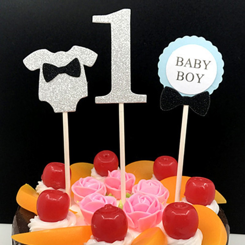 Magnificent 3Pcs Cake Topper Baby Boy Girl 1 Year Old Age Happy Birthday Funny Birthday Cards Online Alyptdamsfinfo
