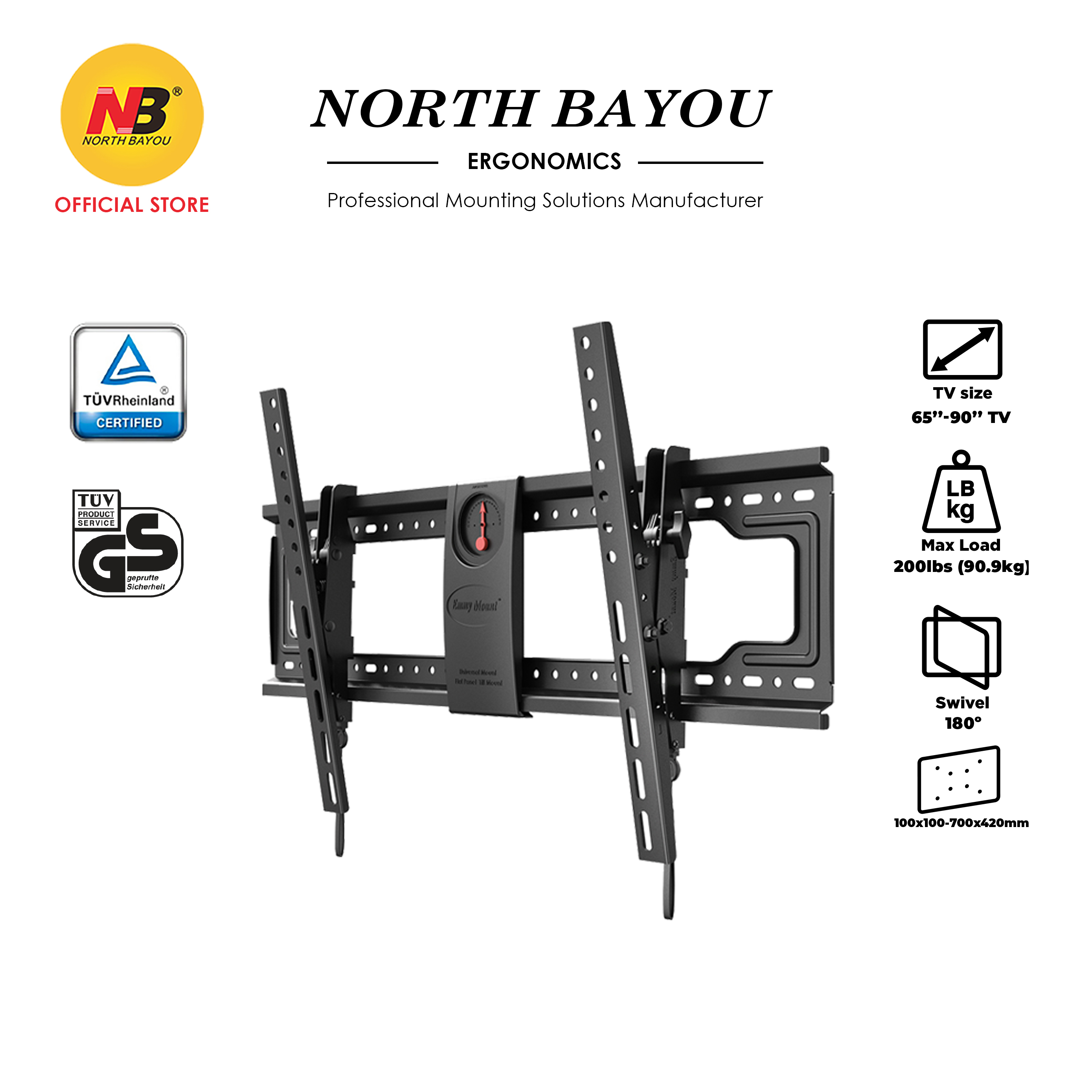 """NB North Bayou DF80-T Ergo Height Adjust Fixed TV Wall Mount Bracket Ultrathin Fit 65"""" to 90"""" LCD LED Flat Panel TV"""