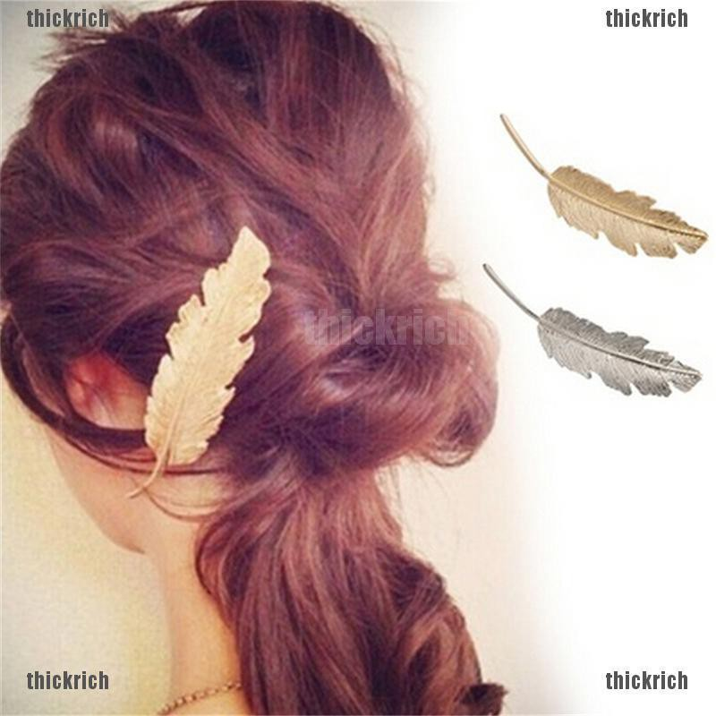 2pcs Summer Women Leaf Feather Hair Clip Slide Jewellery Accessories Headbands