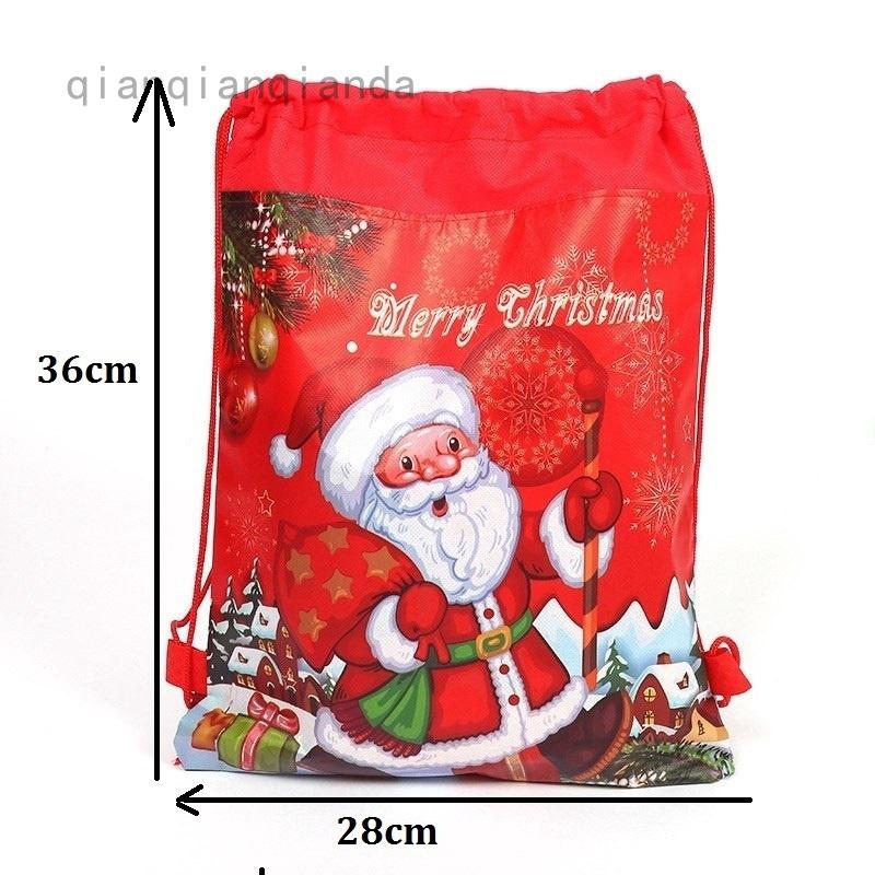 Christmas Santa Claus Reindeer Drawstring Candy Bags Gift Bag  Backpack Decor