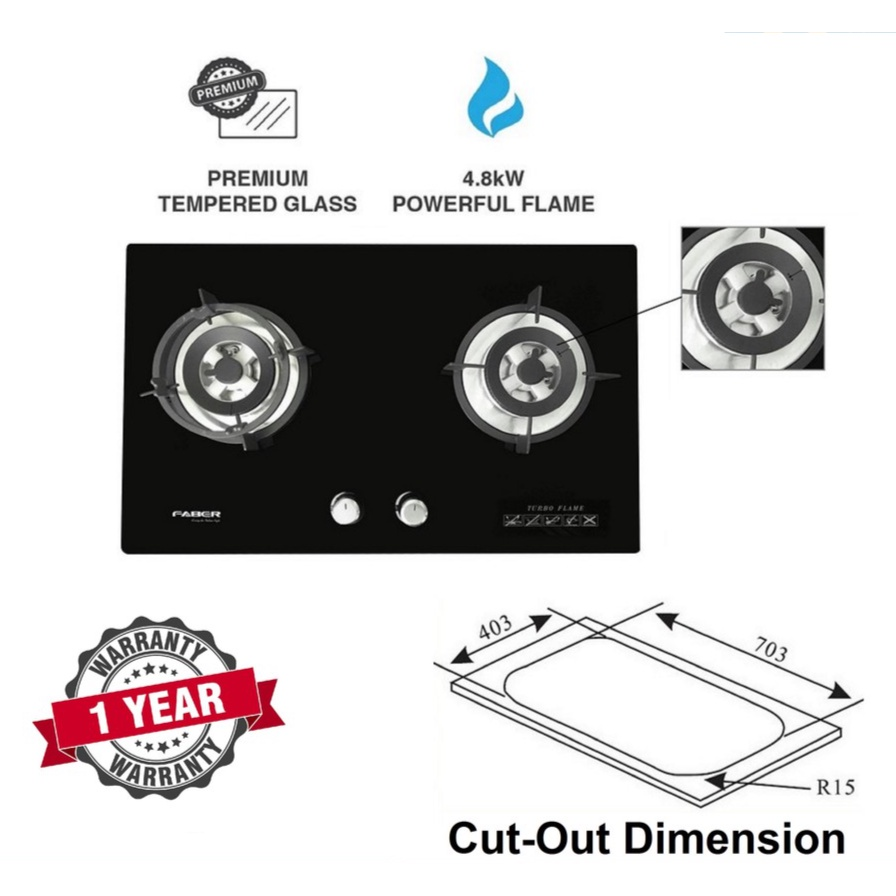 Faber Built-In 2 Burners Gas Cooker Glass Hob - FGH VITTO 2B/76BK