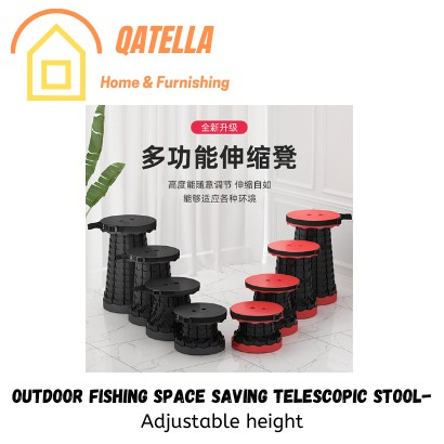 Qatella Collapsible Outdoor Telescopic Stool Retractable Chair Seat Portable Fishing Stool Folding Adjustable Stool
