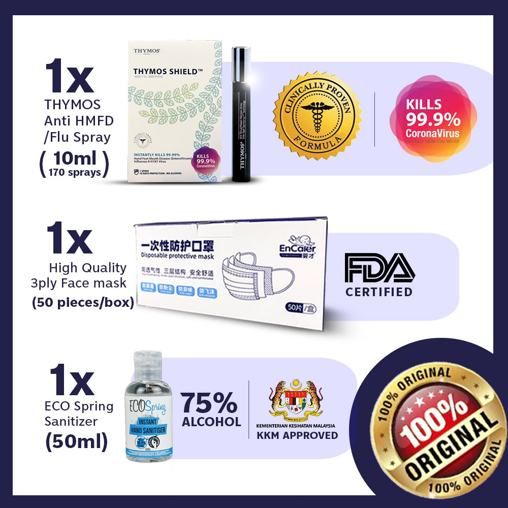 【World Most Powerful Spray】1x 10mL Thymos + 1x Ecospring 50mL + 50pcs Face Cover