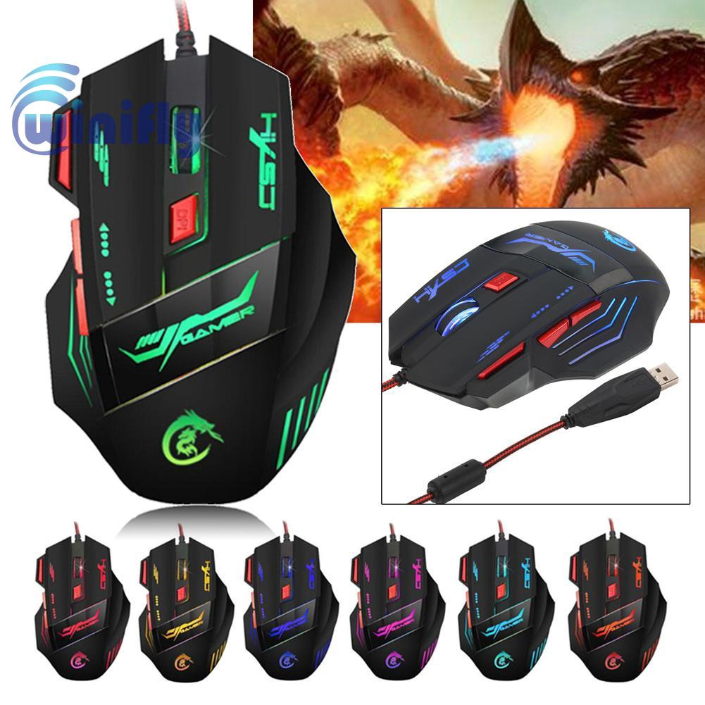 USB 5500 DPI 6LED Button Optical Wired Gaming Mouse Mice For Pro Gamer PC Laptop