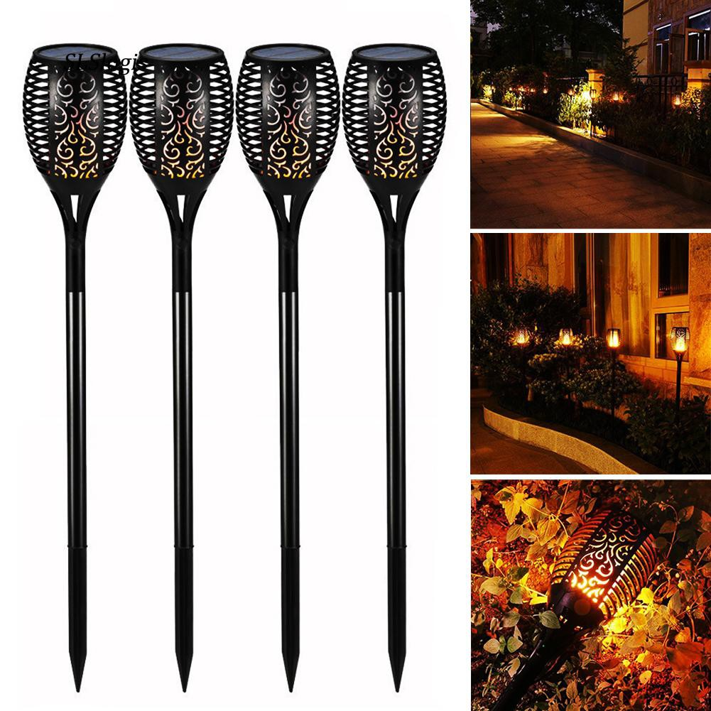 wac 4Pcs Flickering Flame 96 LED Solar Light Waterproof Outdoor Garden  Spotlight