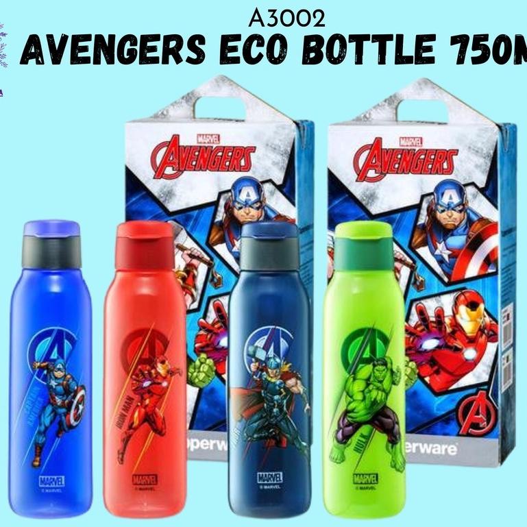 (10% Cash back + Voucher) Tupperware Avengers eco bottle Flip Top 750ML Avenger (Iron Man/ Captain America/ Thor & Hulk)
