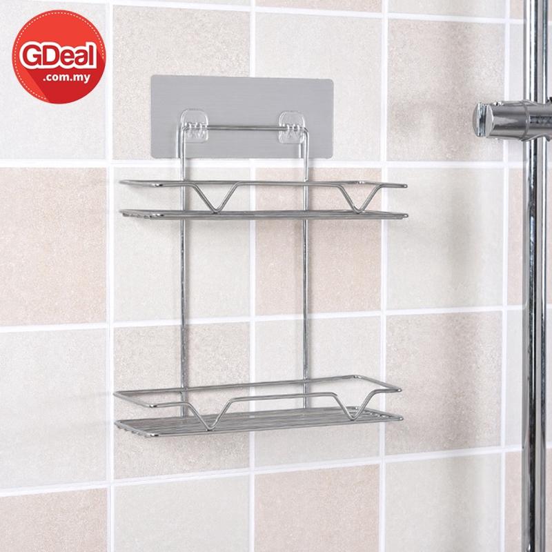 GDeal Double Layers Stainless Steel Bathroom Ktichen Makeup Storage Rack Organizer
