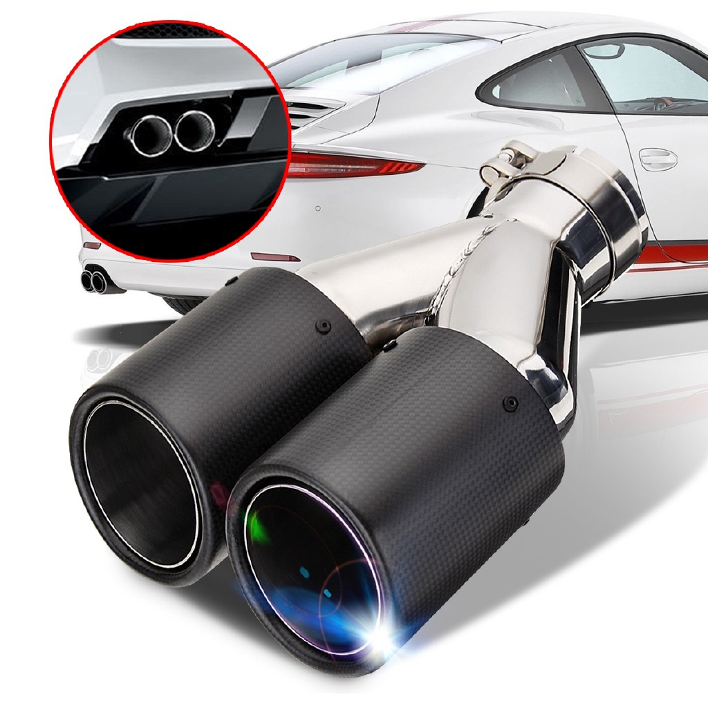 Pair 63mm Inlet 89mm Outlet Auto Dual Exhaust Pipe Tail Muffler Tips Waterproof