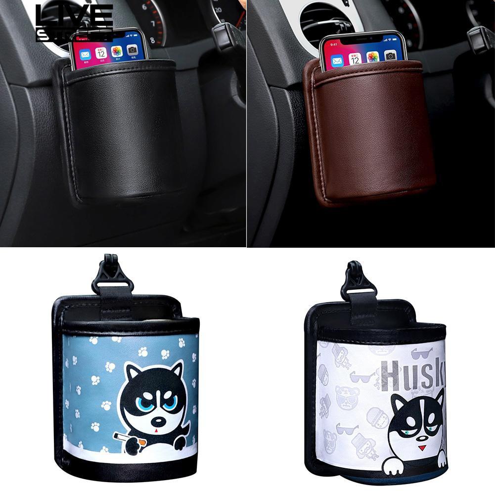 Cartoon Dog Car Air Vent Outlet Storage Hanging Bag Phone Pocket