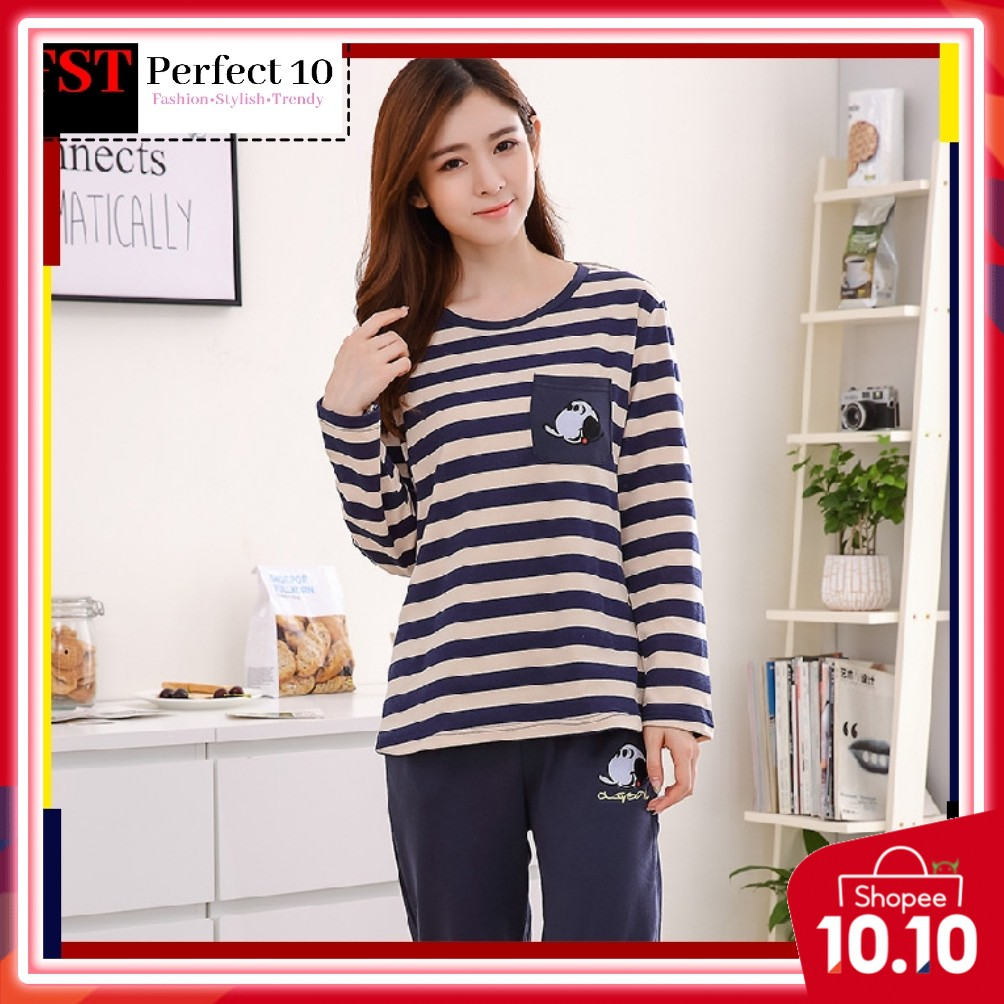 FST Silk Fabric Long Sleeve and Long Pant Blue Yellow Line Pyjamas / Set Baju Tidur Elegant design [6040]