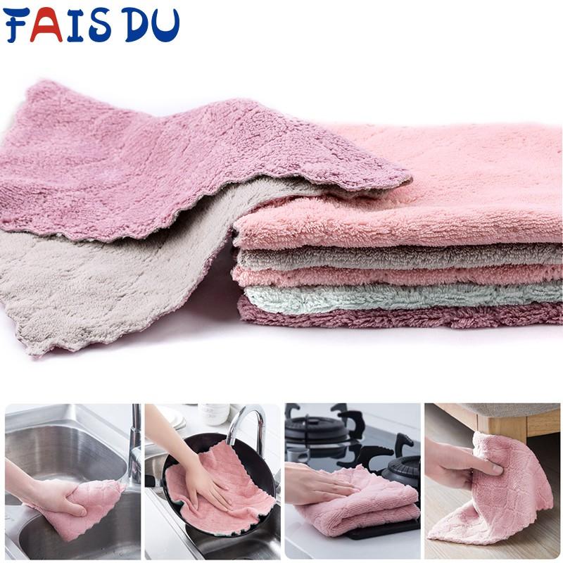 Fais Du Dishcloth Absorbent Non-Stick Oil Kitchen Dish Towel - Random Colour