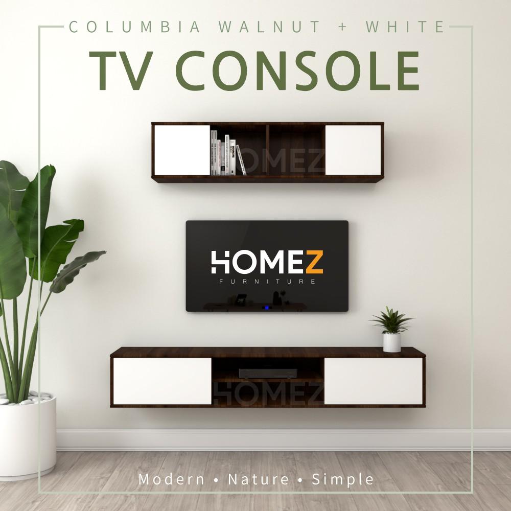 KitchenZ Wall mount TV Cabinet JJ3071 ( UPPER + LOWER Cabinet ) - Columbia Walnut