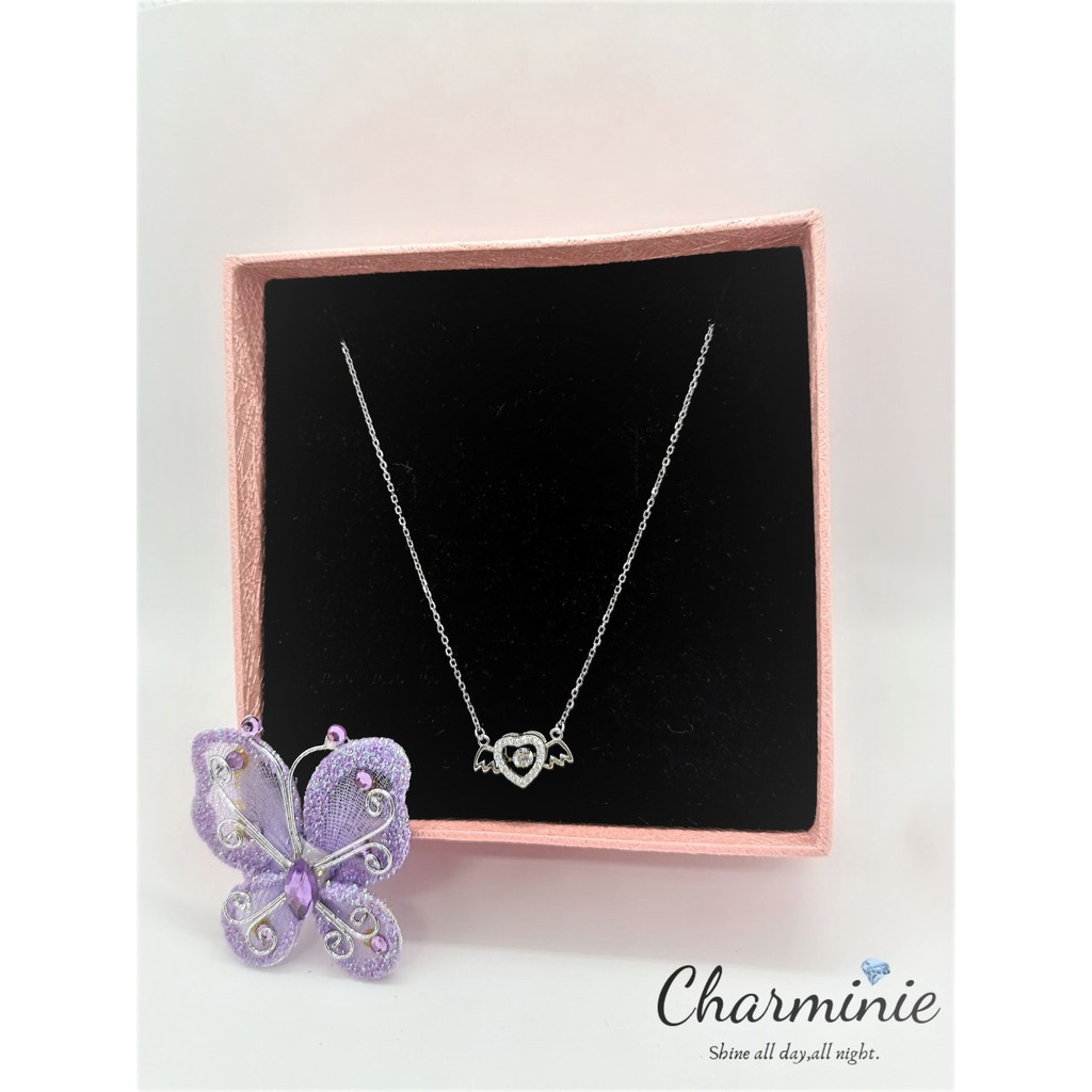 Pure Sliver 925 Dancing Stone Love Angel (Sliver plated Platinum) necklace -Charminie