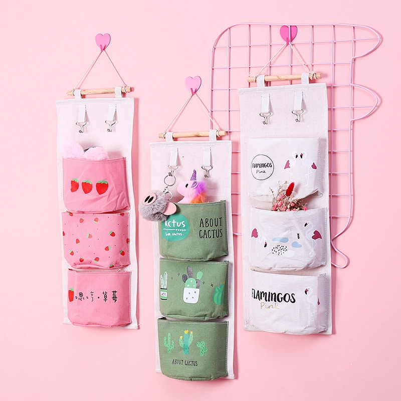 Cute Bedroom Storage Bag Powder Girls Bedroom Wall Hanging Sorting Debris  Storage Bag BloomTheRoom
