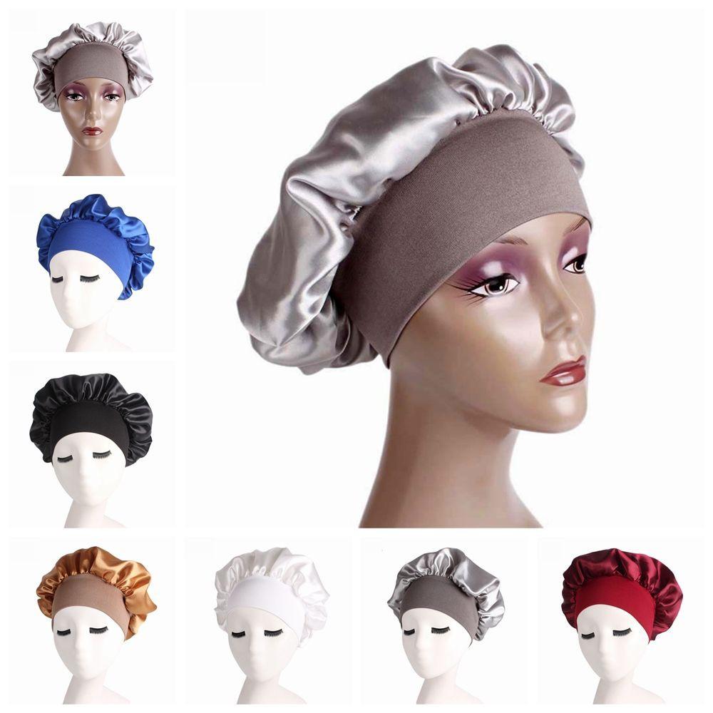 ada02fd2f Cover Hair Loss Chemo Elastic Head Wraps Wide Band Satin Cap Night Sleep Hat