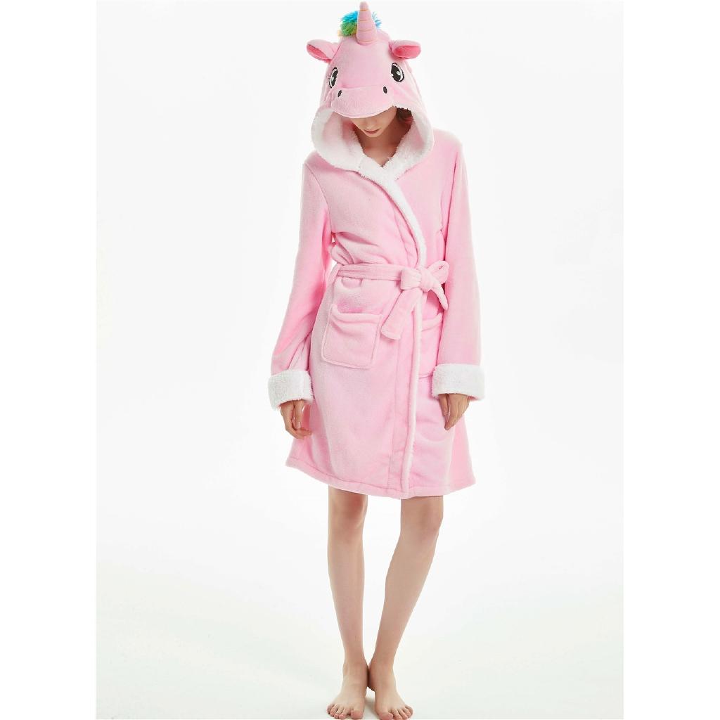 Adults Animal Flannel Pink Hair Unicorn Bath Robe Sleepwear Women Men Cute Cartoon Robes Winter Unisex Unicorn Pajamas Shopee Malaysia
