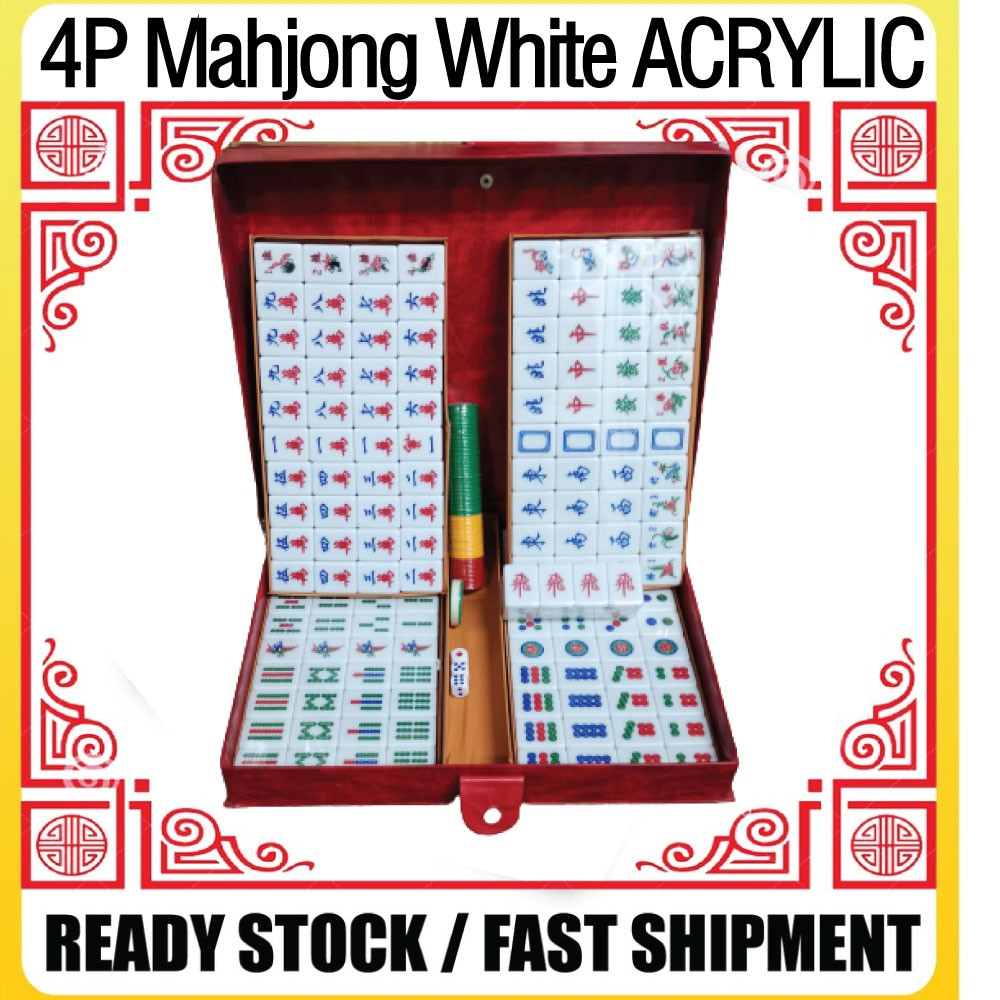 [Ready Stock]4 Player Mahjong SetAcrylic White Special Promotion[Fast Delivery] 三人麻将 亚克力白色款共168颗