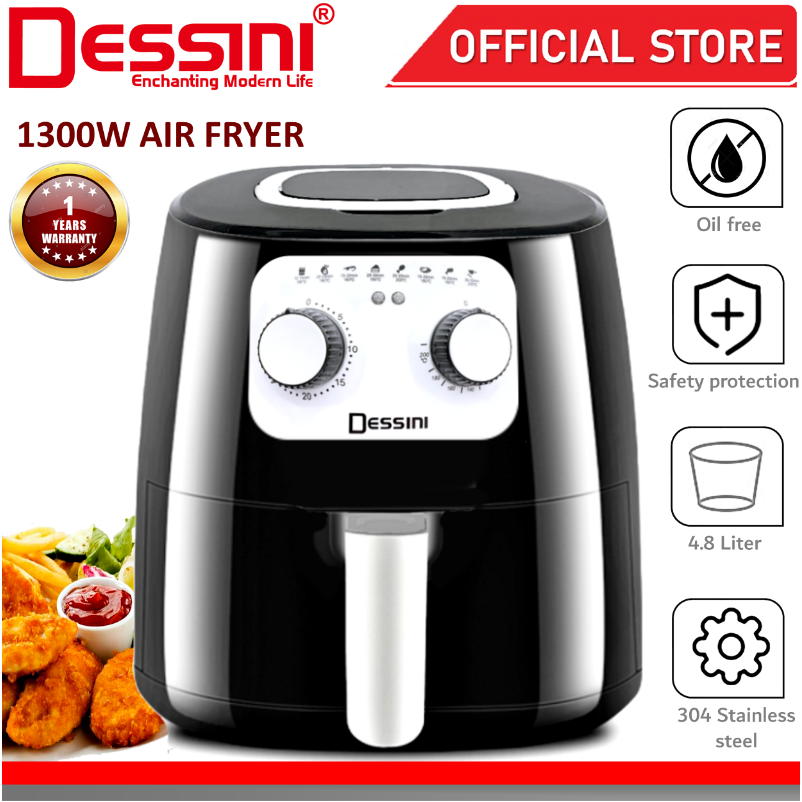 DESSINI ITALY Electric Air Fryer Timer Oven Cooker Non-Stick Fry Roast Grill Bake Machine (4.8L)