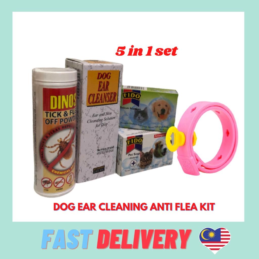 SuperSaver Dog Ear Cleanser Anti-flea Kit 5in1 set