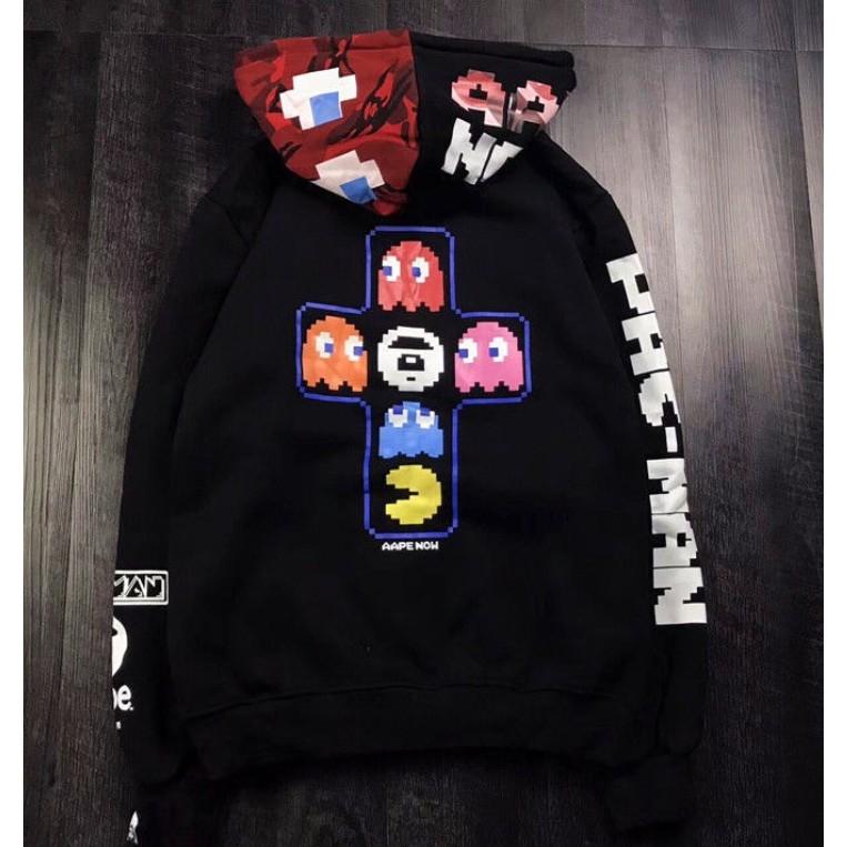 BAPE Pac-Man Mosaic Hoodie A Bathing Ape Black Pullover Drawstring Sweatshirts