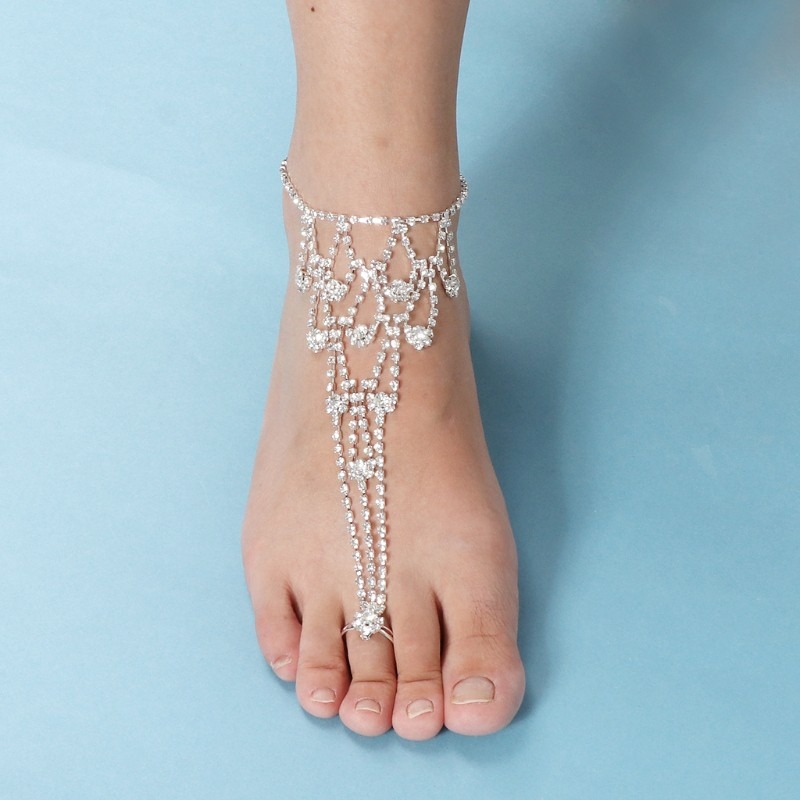 EG/_ Fashion Women Rhinestone Anklet Beach Sandal Ankle Chain Foot Jewelry Utilit