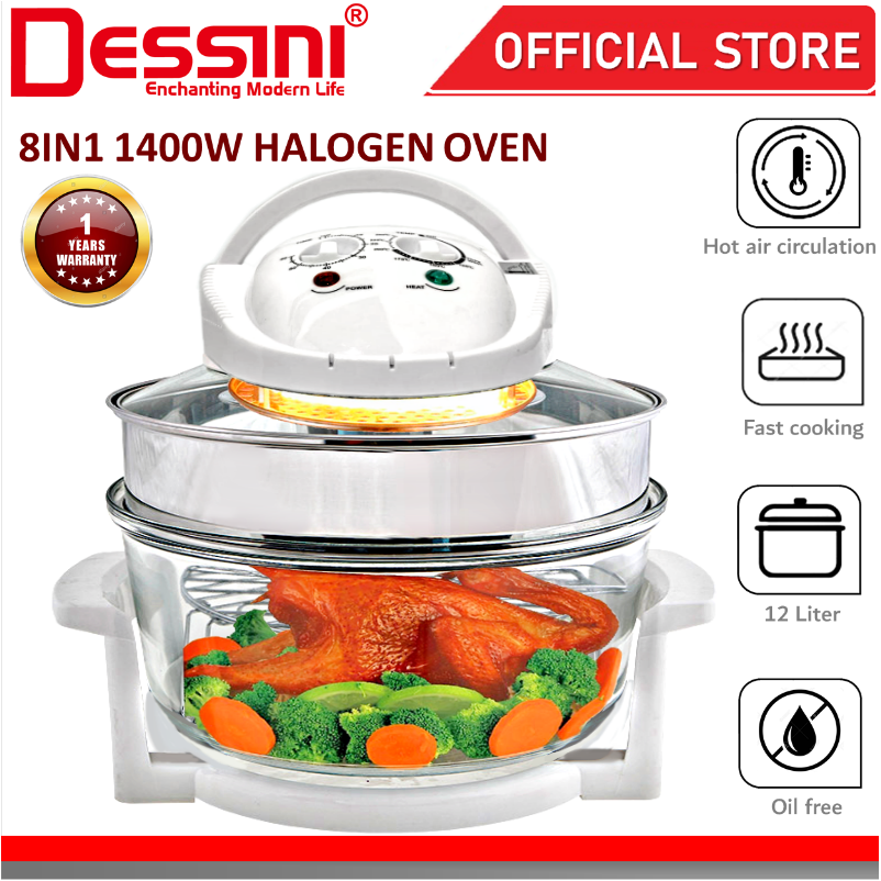 DESSINI ITALY 8 IN 1 Electric Halogen Convection Oven Hot Air Fryer Timer Oil Free Roaster Cooker (12L)