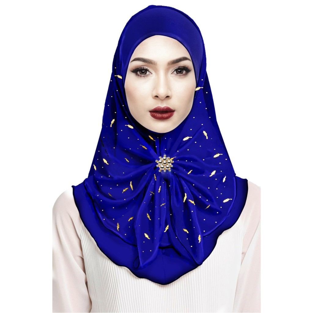 Sawks Hijab Full Instant - With Pearl Brooch