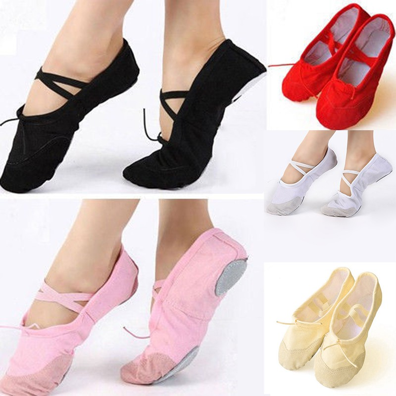 Adult Girls Womens Canvas Ballet Dance Shoes Ladies Slippers Pointe Gymnastics