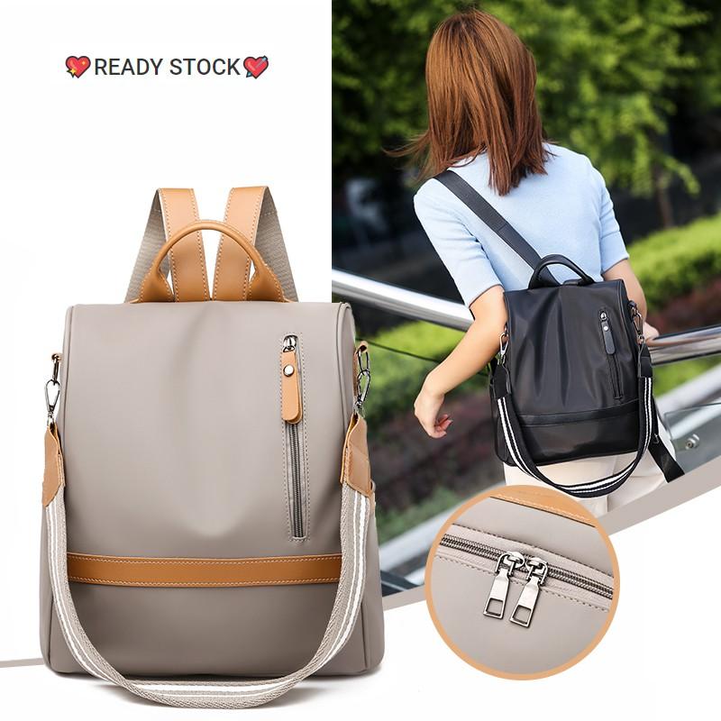 Ready Stock Waterproof Anti Theft Women Backpack Nylon Casual Korean Bag