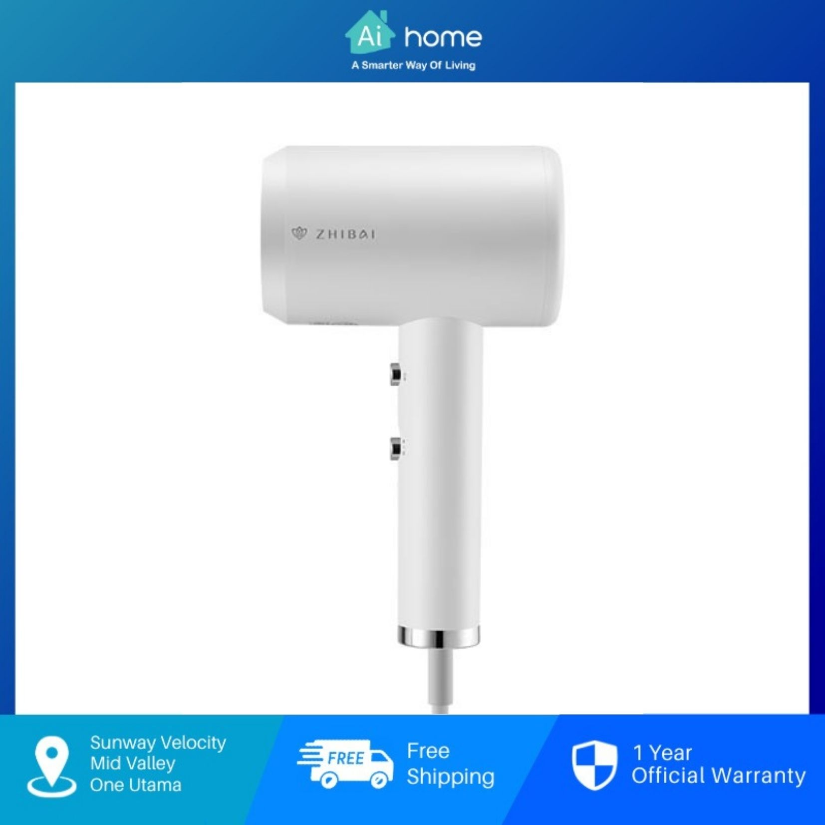 XiaoMi Zhibai HL312 Anion Hair Dryer - Negative Ion | 1800W | Hot and Cold Air  [ Aihome ]