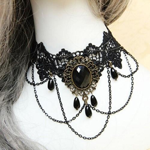 Pendant Tattoo Party Flower Black Vintage Women Choker Gothic Hollow Necklace