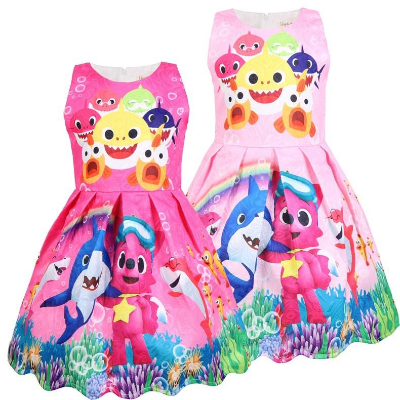 Little Girls Baby Shark Dress Princess Dresses For Girl