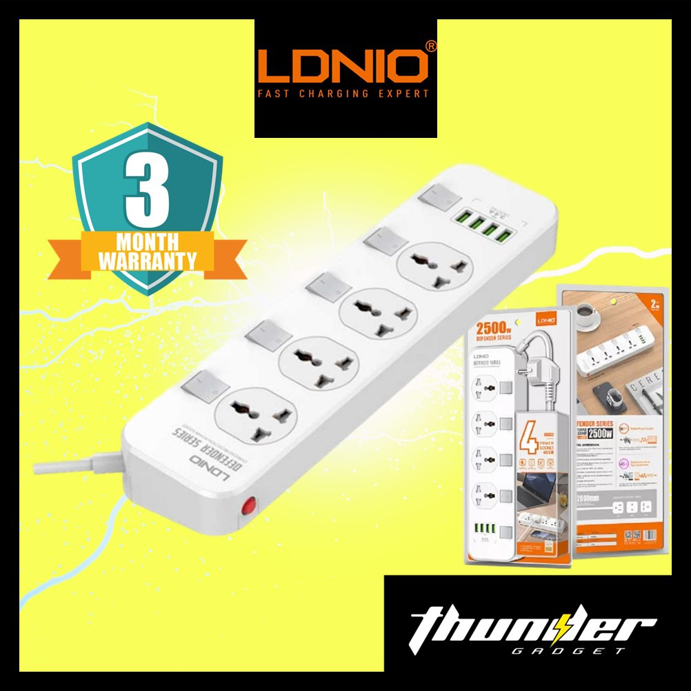 LDNIO SC4408 Electrical Socket Smart Extension Multifunction Power Supply Strip Charger Adapter With 4 USB Port