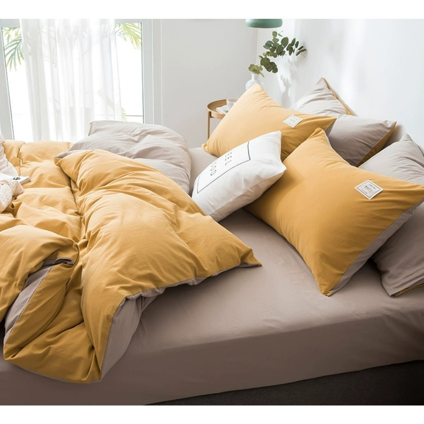 Single 3in1 Nordic Minimalist Plain Quiltcover Bedding Set