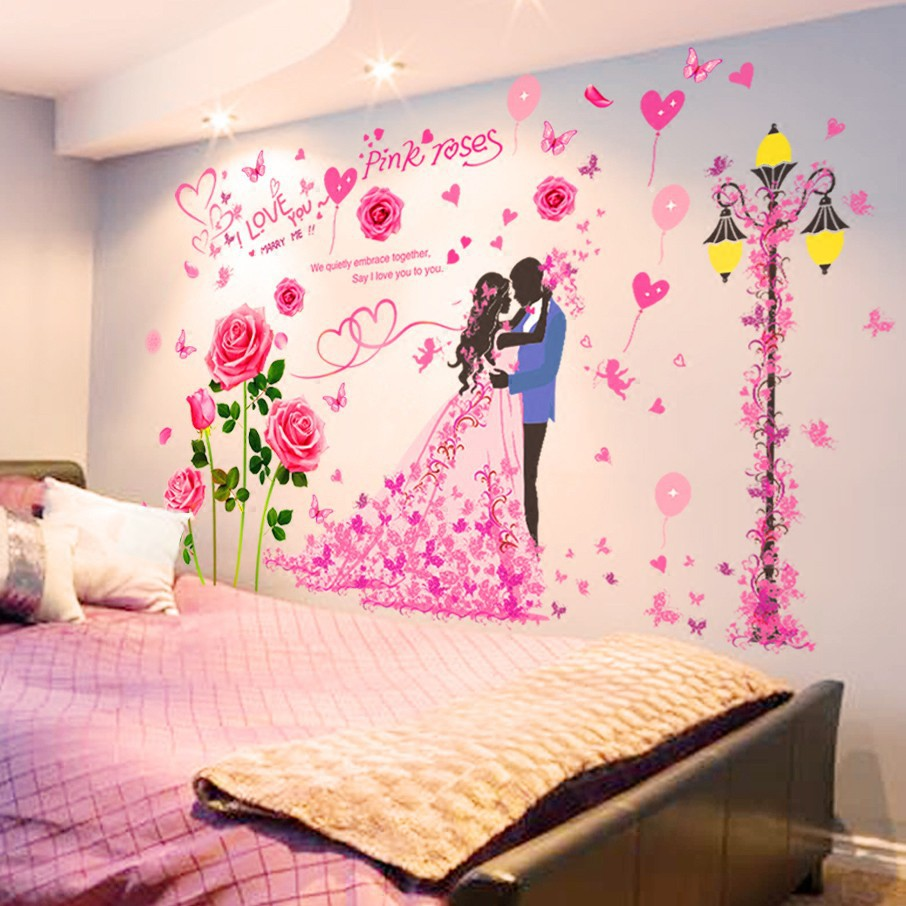 Surprising 3D Three Dimensional Warm Romantic Couple Wall Stickers Stickers Bedroom Room Be Home Interior And Landscaping Mentranervesignezvosmurscom