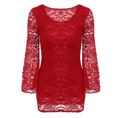 SEXY LONG TRUMPET SLEEVE LACE SPLICED WOMEN DRESS (RED)