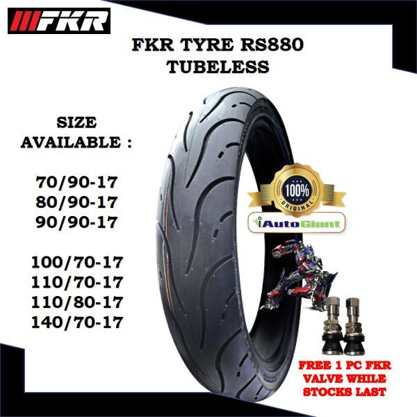 FKR TAYAR RS880 TUBELESS - (100% ORIGINAL) 70/90-17, 80/90-17, 90/90-17, 100/70-17, 110/70-17, 110/80-17, 140/70-17