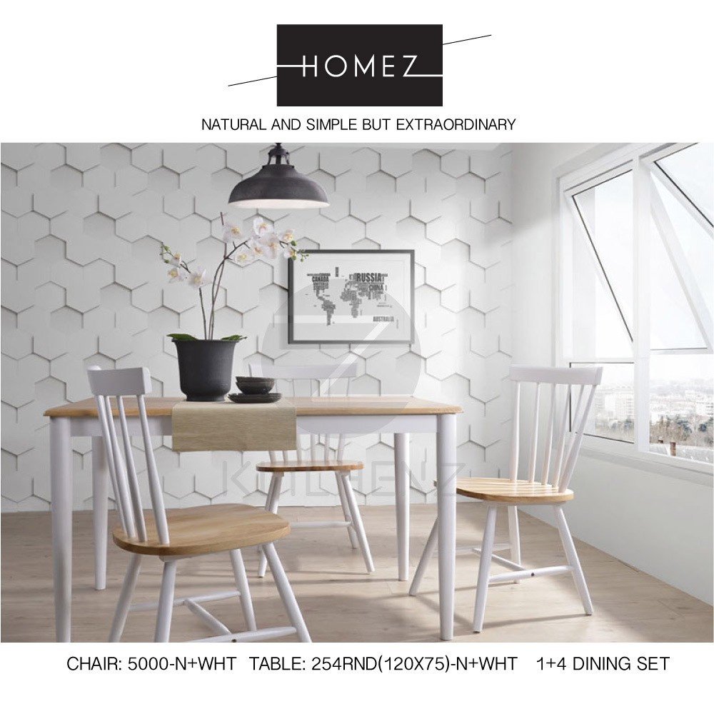 Homez Solid Wood C-6000-N+WHT and T-254RND(120X75)-N+WHT - 1+4 Dining Set
