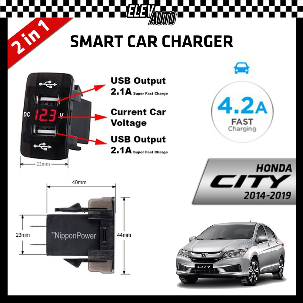 DUAL USB Built-In Smart Car Charger with Voltage Display Honda City 2014-2019