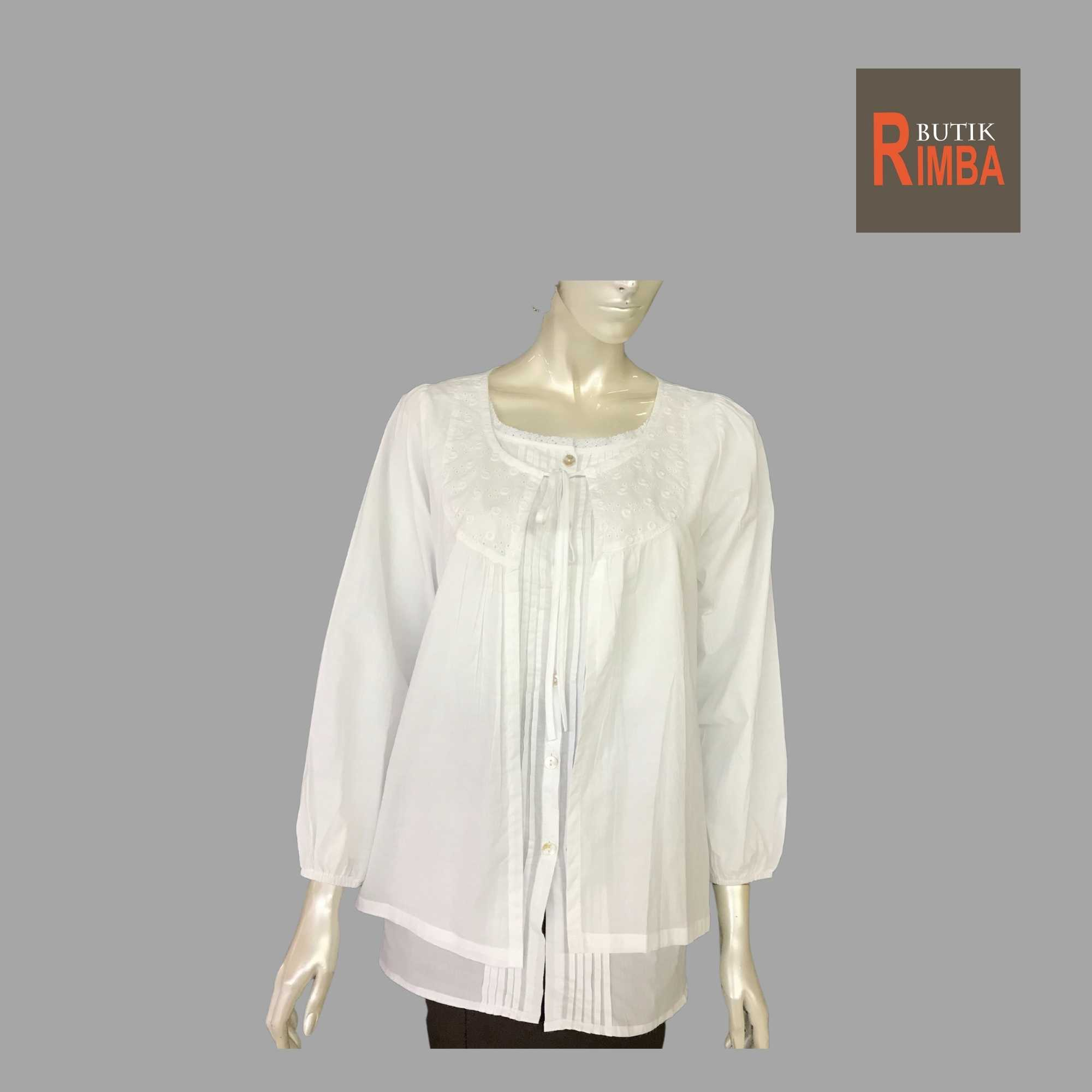 WOMEN CASUAL AND COMFORTABLE WHITE BLOUSE COTTON FREE SIZE PATTERN 22