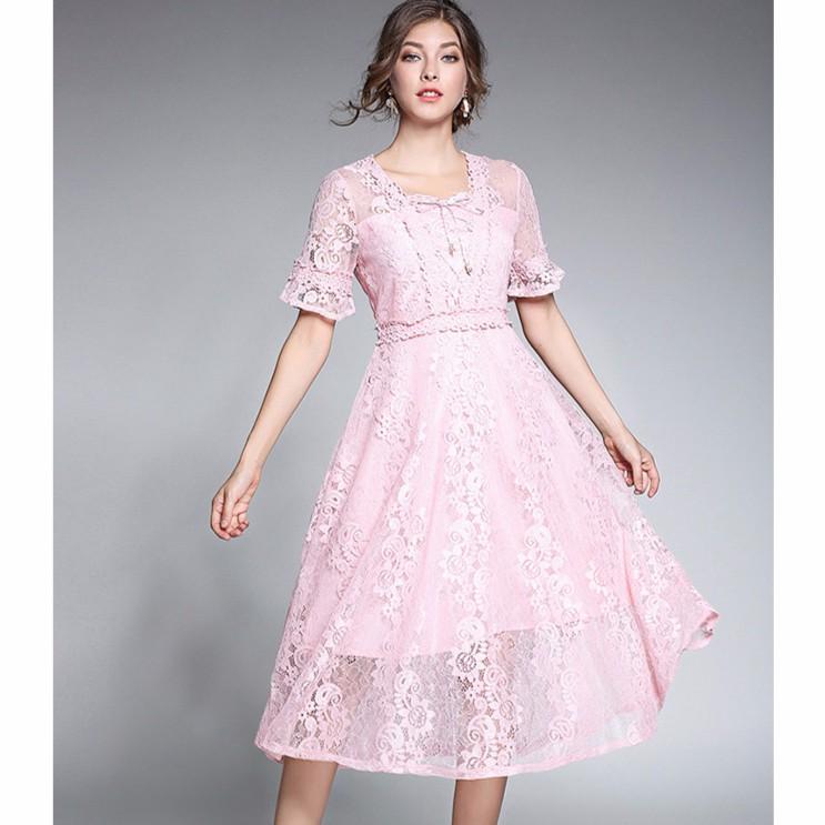 221c4b10e382b Summer Women Long Lace Square Neck Ladies Evening Midi Dress  Pink/White/Black